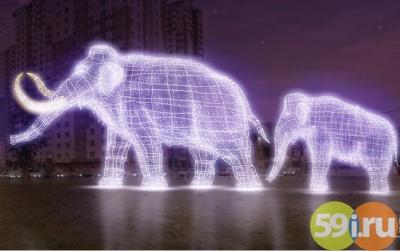 КНовому году вПерми появится световая скульптура мамонта смамонтенком